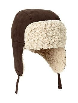 Shearling trapper hat- to be just like Daddy!  a46de7fb0ad