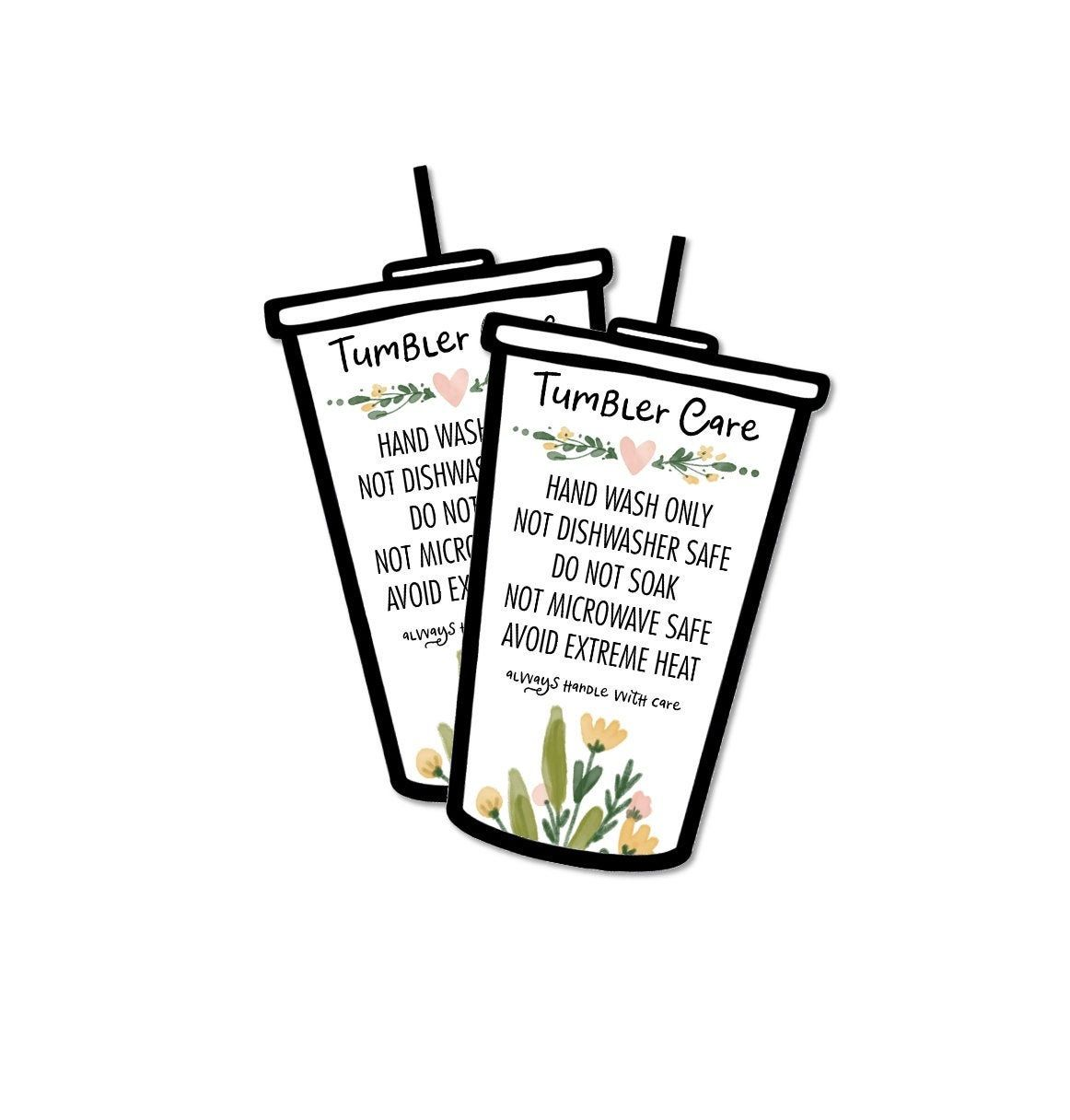 Iced Tumbler Care Card Printable Ready To Print Digital File Etsy Printing Center Card Sizes Tumbler