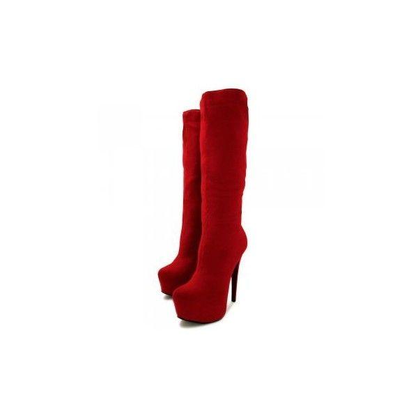 189b6dd21e1 Janelle Stiletto Heel Concealed Platform Knee High Boots Red Suede... ( 41)