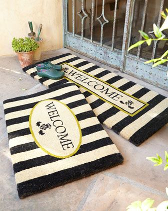 Awning stripe single door and double door welcome mats by MacKenzie-Childs at horchow.com [3/27/14 Ships Free, $100 for single mat, $160 for double mat]