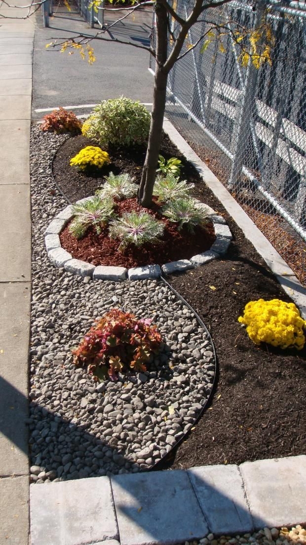 bark dust and gravel separated for small strip between driveway and neighbor 39 s path i love this. Black Bedroom Furniture Sets. Home Design Ideas