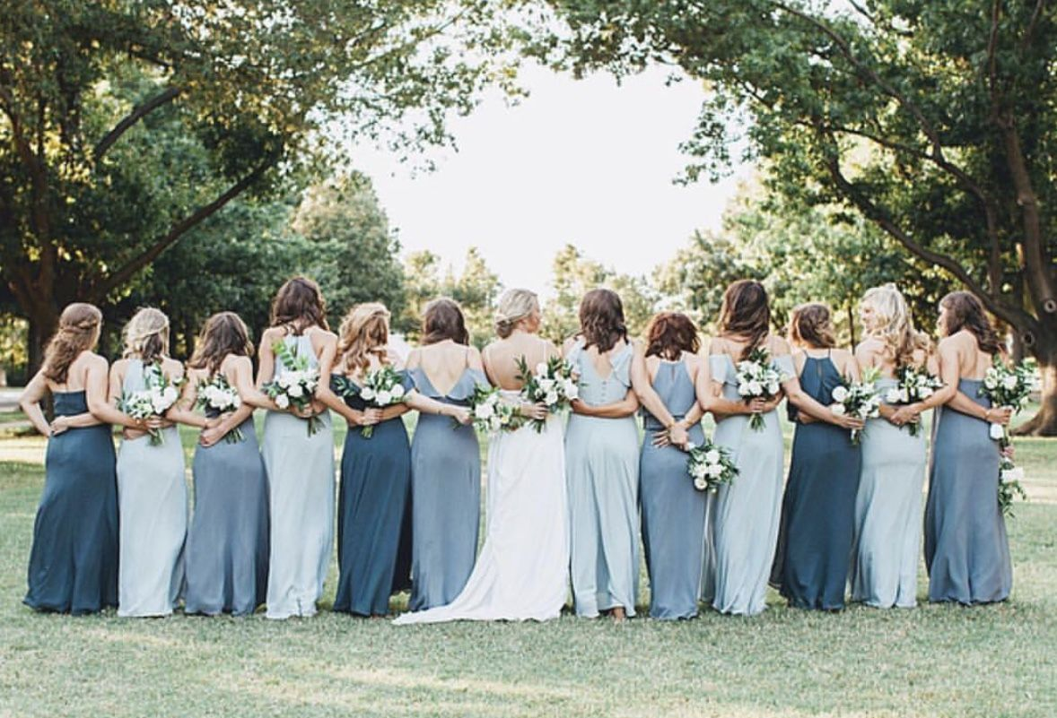 Jenny Yoo Bridesmaids Various Long Luxe Chiffon Styles In Mismatch Mismatched Bridesmaid Dresses Blue Dusty Blue Bridesmaid Dresses Wedding Bridesmaid Dresses