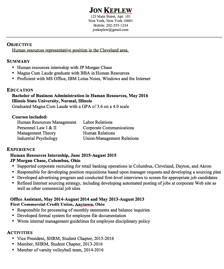 Hr Representative Sample Resume Examples Resume Cv
