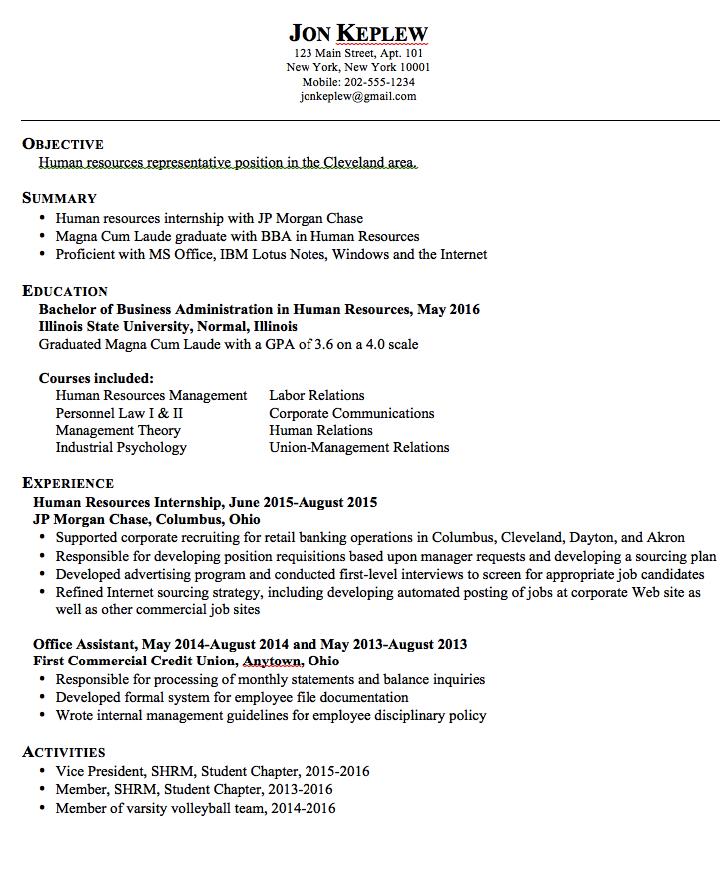 Hr Representative Sample Resume Examples Resume Cv