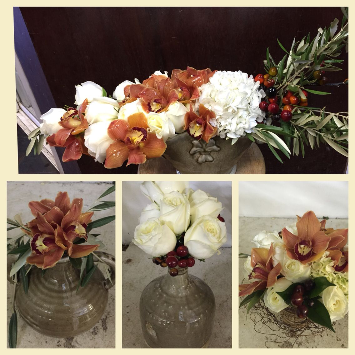 Fall Centerpieces with a mix of organic earth tones. Flowercouture4you.com