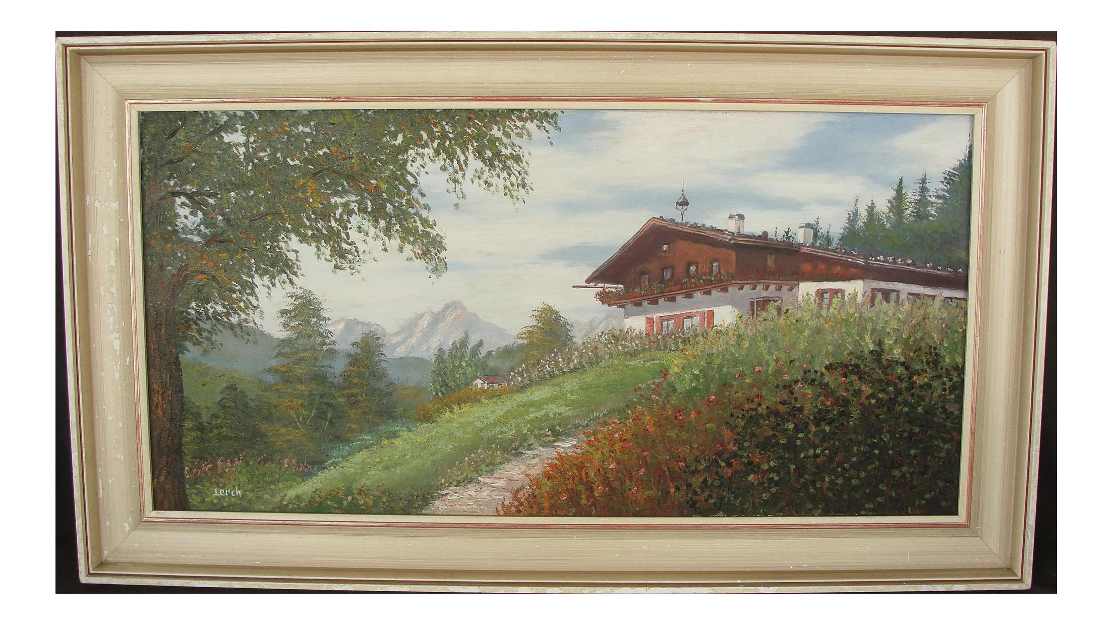 Vintage Mountain Chalet German Landscape Oil Painting On Chairish Com Oil Painting Landscape Painting Landscape Paintings