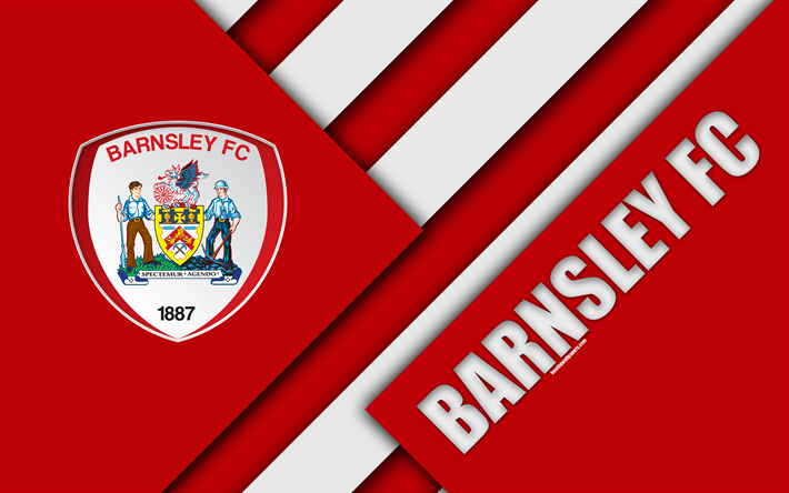 Download Wallpapers Barnsley FC, Logo, Red Abstraction