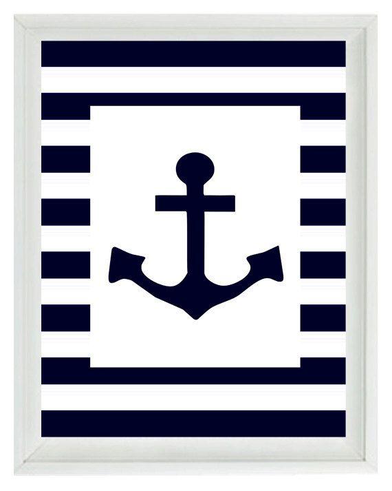 Anchor Wall Art nautical nursery anchor wall art print - navy blue white stripes