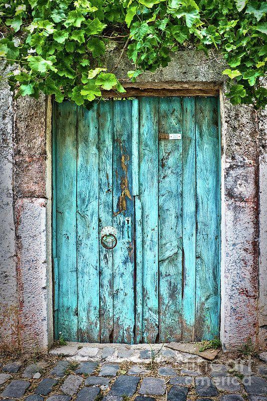 Old blue door Art Print by Delphimages Photo Creat