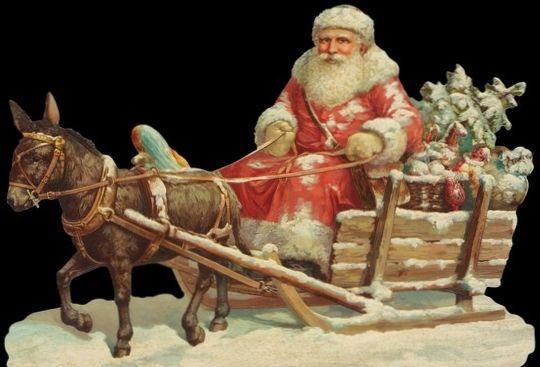 Santa,Sleigh,Donkey