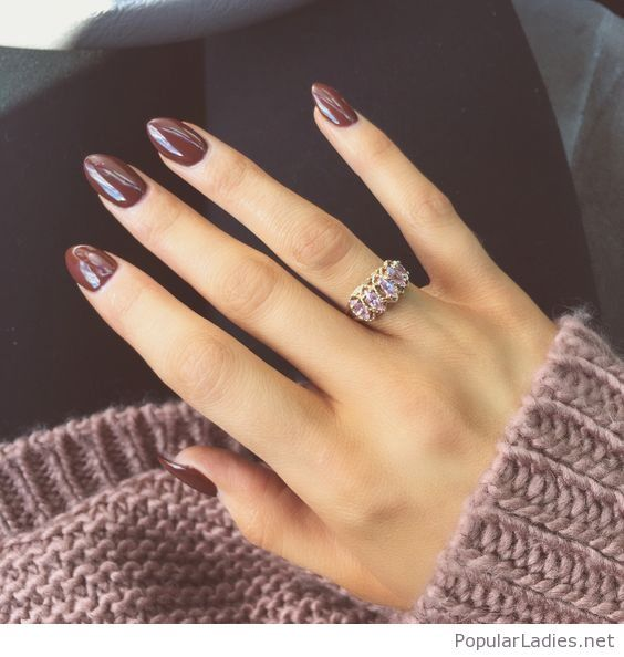 beautiful brown gel nails and ring