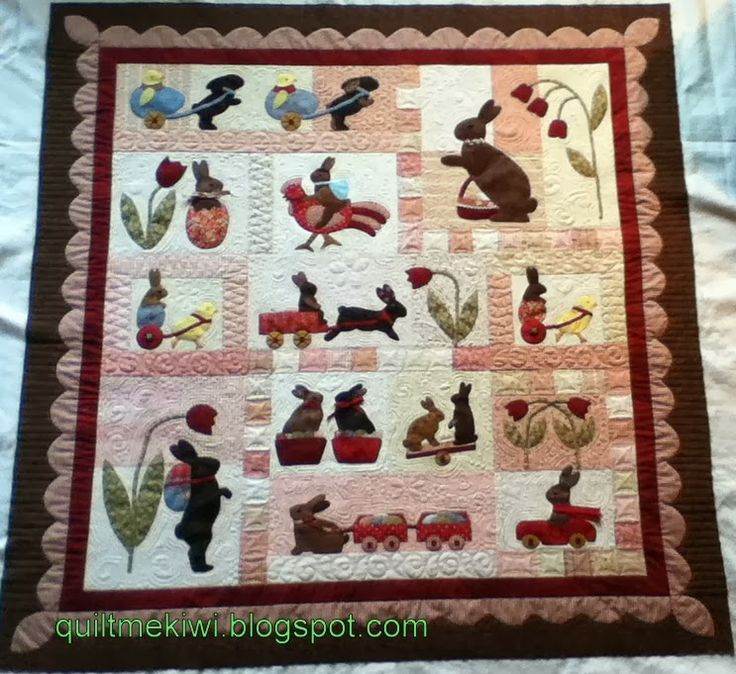 """Rabbits Prefer Chocolate"" a Bunny Hill design, quilted by Leeanne at quiltmekiwi.blogs...."