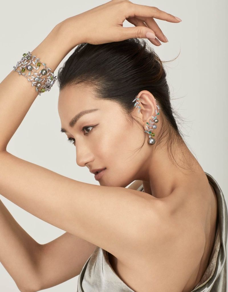 Photo of Ai TominagaGlitters in Mikimoto Jewelry for Vogue Japan