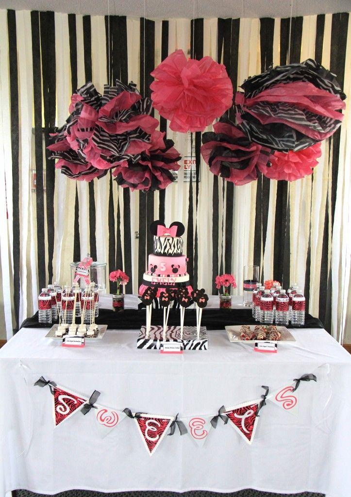 Minnie Mouse zebra print dessert table. #minnie #mouse #birthday #party #dessert #table