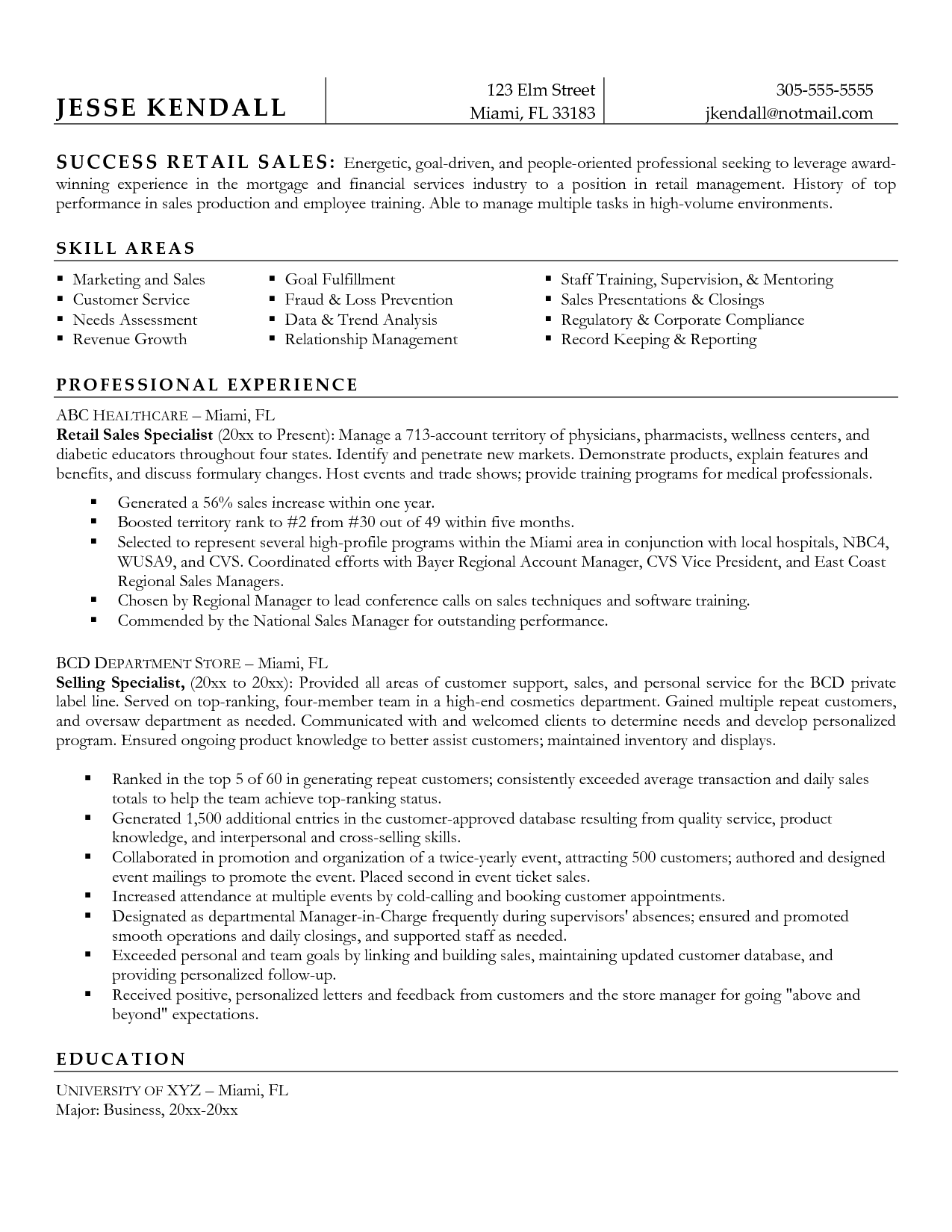 retail resume sales associate resume template retail resume – Sample Retail Resume Template