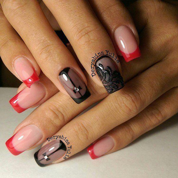 красно чёрный френч на ногтях фото