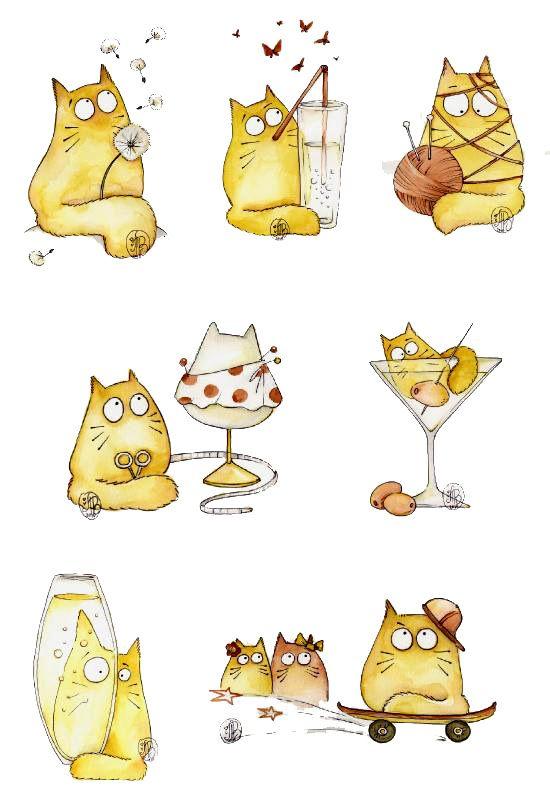 прикольные рисунки с котами простые взводный