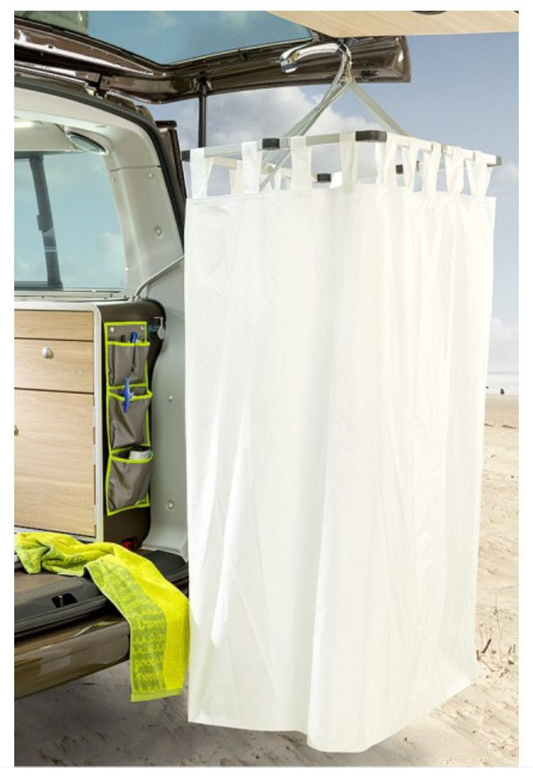 Tailgate Shower Use Hula Hoop To Create Your Own Changing Area At The Lake Or Beach Suv Camping Volkswagen Bus Camper Vw Bus Camper