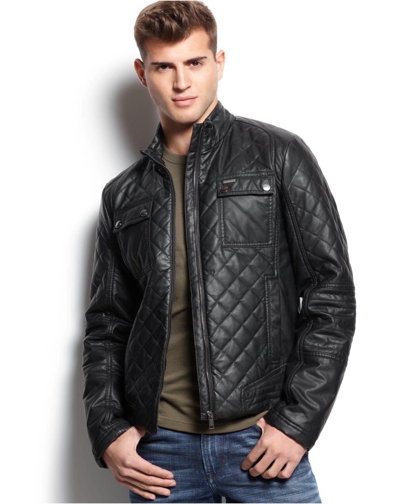 Guess Diamond Quilted Jacket Coats Jackets Men Macy S Leather Jacket Men Quilted Jacket Mens Jackets [ 1616 x 1320 Pixel ]