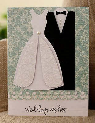 Love The Wedding Dress On This Card Wedding Anniversary Cards Wedding Cards Wedding Cards Handmade