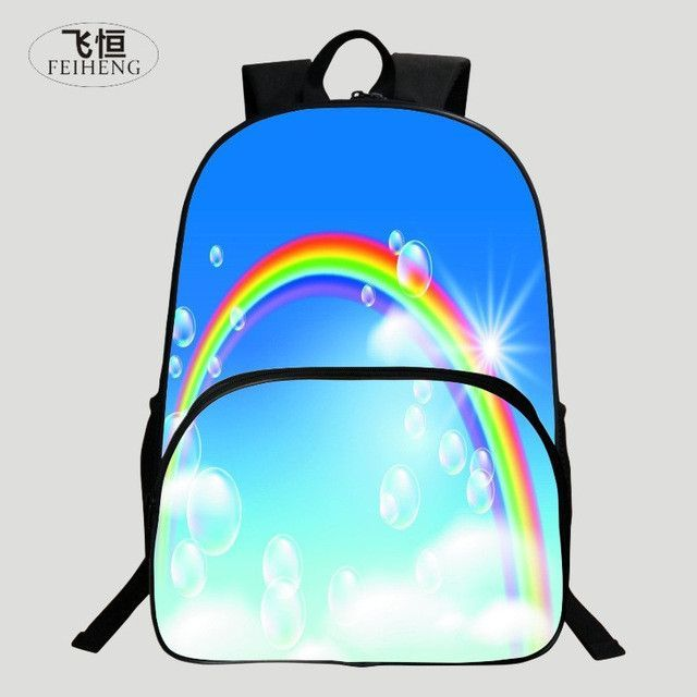 a54c8e705 FEIHENG Brand 2016 Polyester 16 Inch Printing Rainbow Kids Baby School Bags  Children Backpack Cute Girl Schoolbag Backpack