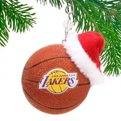 Los Angeles Lakers Ornament - Los Angeles Lakers Team Ball Ornament W/Hat The NBA On Christmas