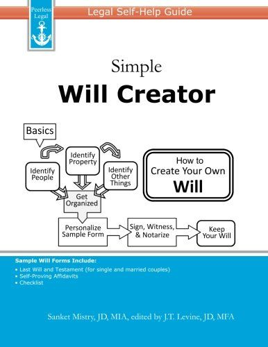 Simple Will Creator Legal Self-Help Guide by Sanket Mistry,http - simple will form