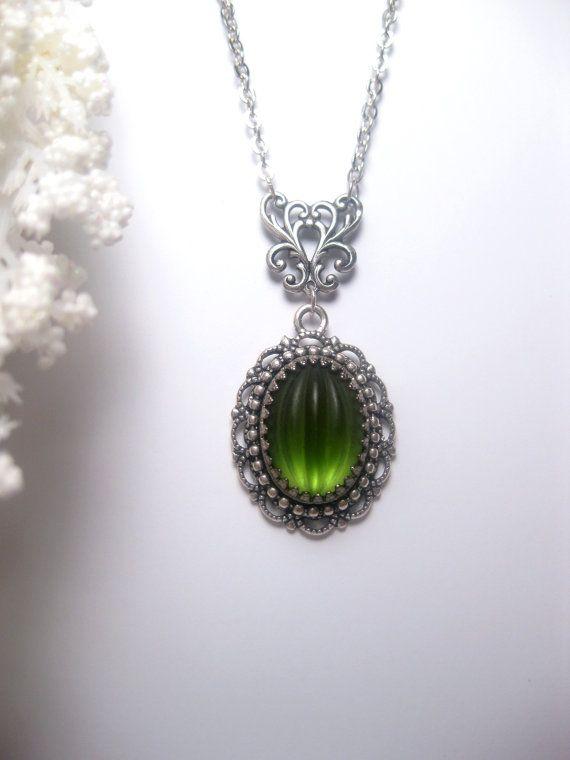 Art Nouveau Necklace - Art Deco - Green Necklace - Victorian - Neon Green - Fern Green - Bright green - Silver Lace Pendant