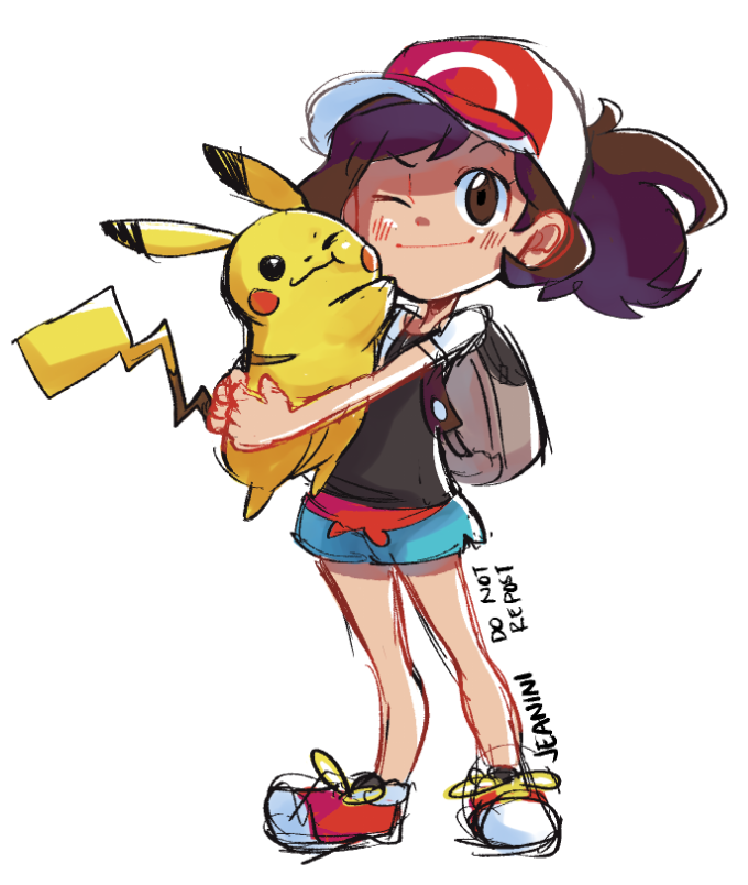 Jeaninidraws I Love A Girl Let S Go Pikachu And Eevee Pokémon Heroes Pokemon Trainer Red Pokemon Characters