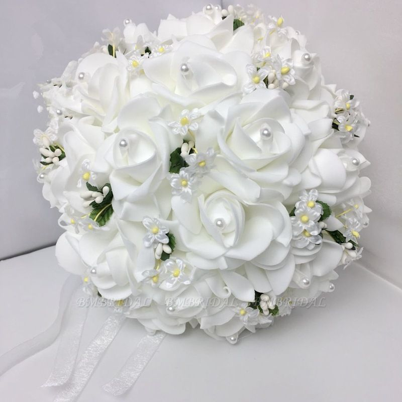 White Rose Wedding Bouquet With Small Flowers Wedding Bouquets