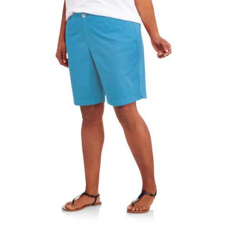 Faded Glory Women's Plus-Size 10 inch Bermuda Shorts with a Comfort Waistband, Size: 24W, Blue