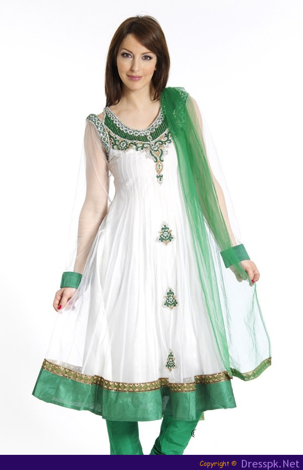 c7405ba14e Pakistan attire | 14th august fashion green and white frock dress 150x150  Babies Frocks .