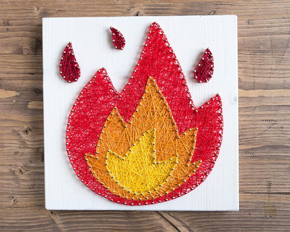 Modern fire emoji wall string art decoration for colorful interiors
