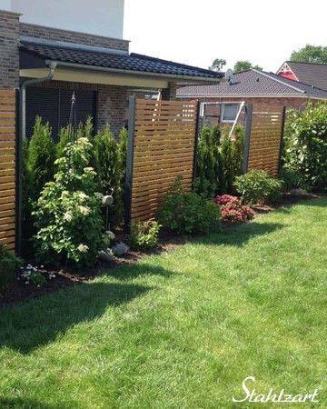 Sichtschutz Garten Holz Lärche Metall anthrazit modern