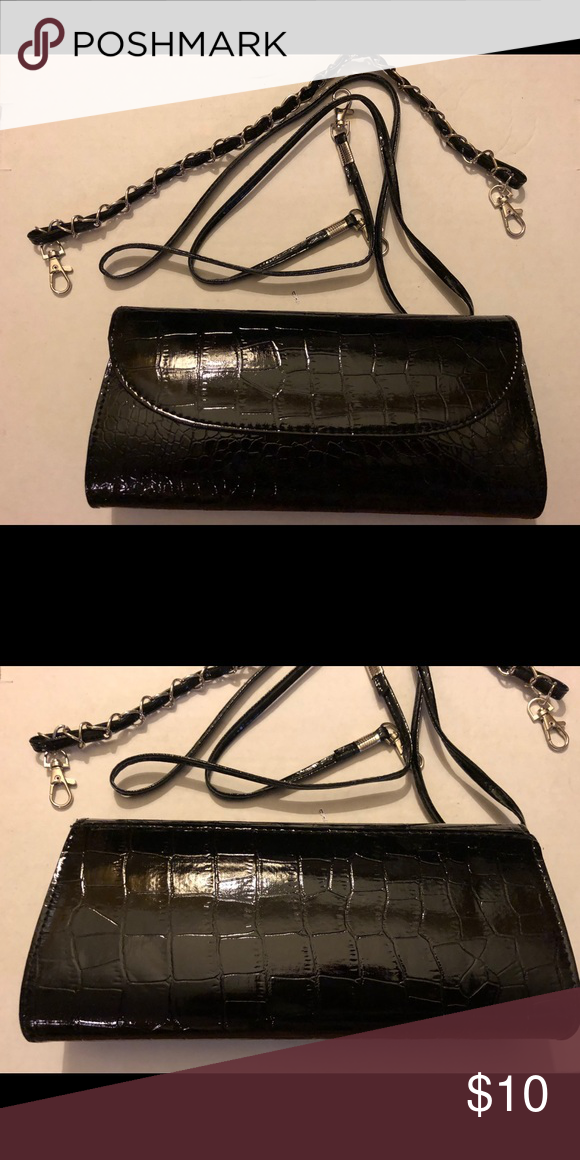 3f04322cd452 Black Clutch Purse Like new black envelop evening patent croc skin embossed  clutch party bag. Two handle options to convert to shoulder bag. Bags  Clutches   ...