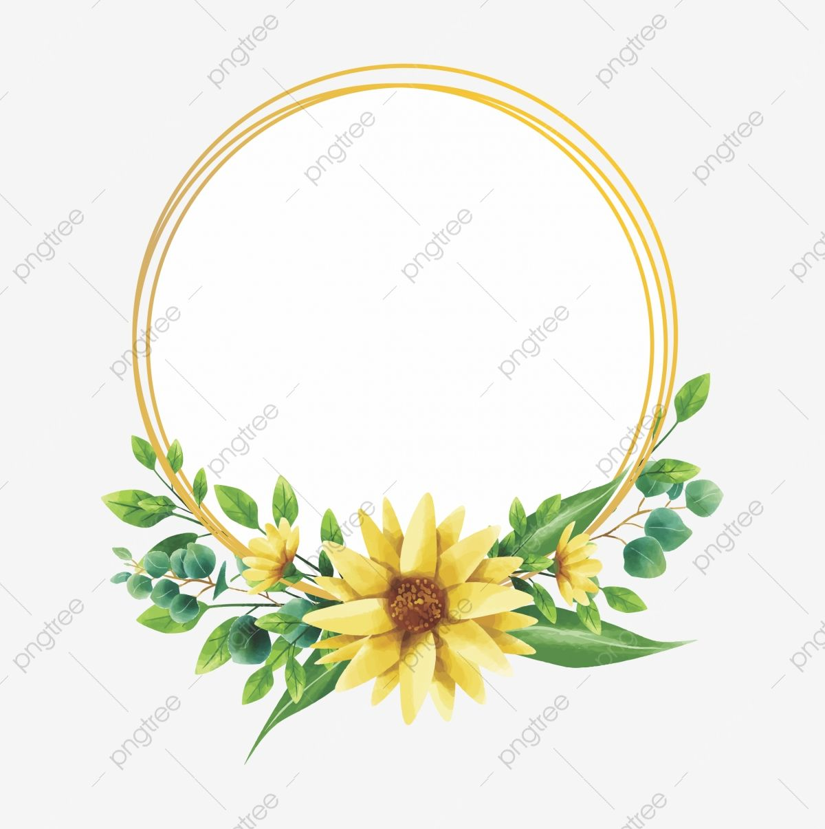 Yellow Flower Frame With Watercolor Style Watercolor Flower Floral Png And Vector With Transparent Background For Free Download Flower Frame Flower Frame Png Watercolor Flower Background