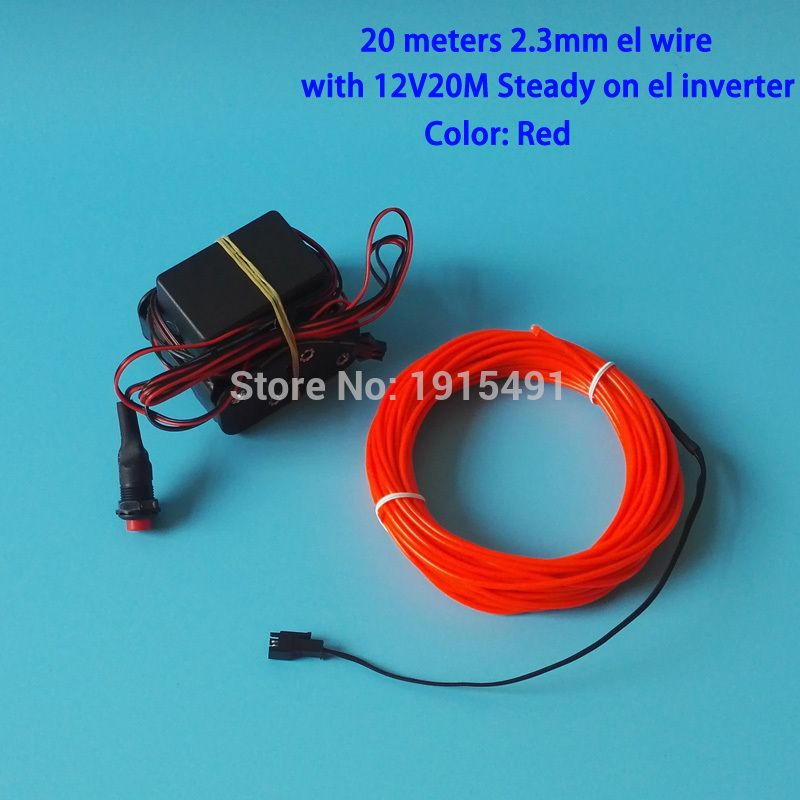 Top Selling Red 20Metre 2.3mm EL Cold Light Neon Glowing Led Strip ...
