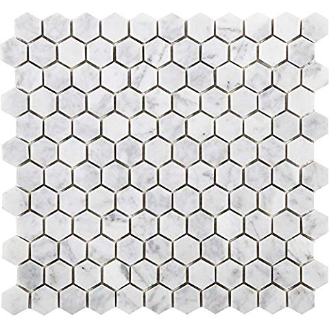 9 50 89 Sq Ft Stone Center Online Carrara White Italian Carrera Marble Hexagon Mosaic Tile 2 Inch In 2020 Hexagon Mosaic Tile Hexagonal Mosaic Marble Mosaic Tiles