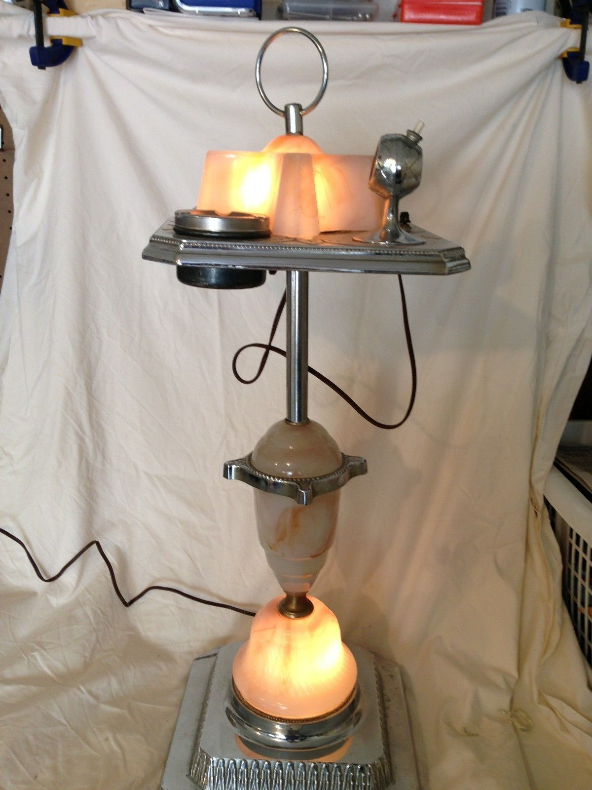 1920s L B Lamp Co Art Deco Lighted Smoking Stand W
