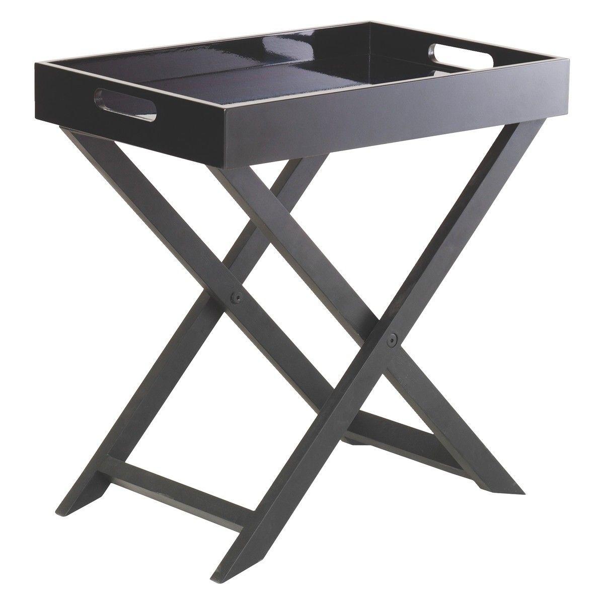 oken black folding side table