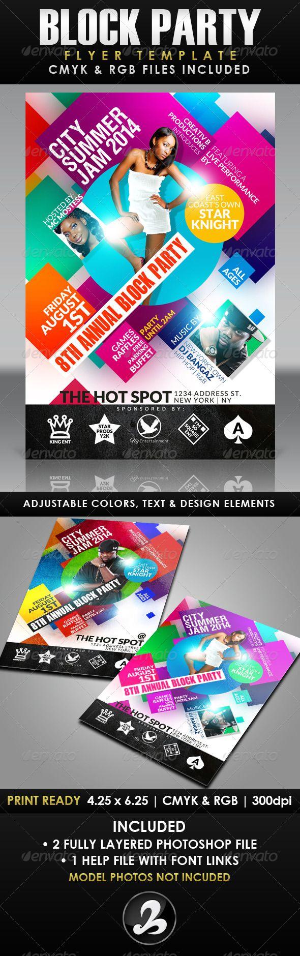 block party flyer template events flyers листовки pinterest