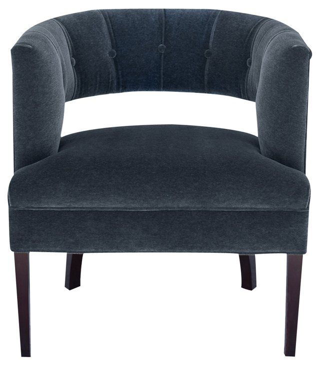 Madison Accent Chair, Charcoal Velvet