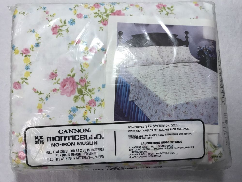 Vintage Cannon Monticello Muslin Cotton Poly Usa Full Flat Sheet Fl Nos B4