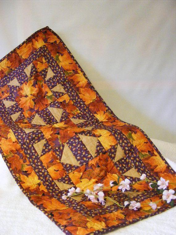 Fall Leaf Table Runner Purple Orange by LJsCustomCreations on Etsy, $25.00