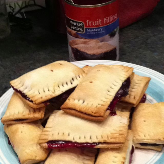 Homemade Blueberry using pie filling and pie crust from grocer, yummy!