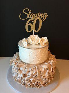 ANY NUMBER Gold Glitter 60th Birthday Cake by SugarPlumCreationsCo