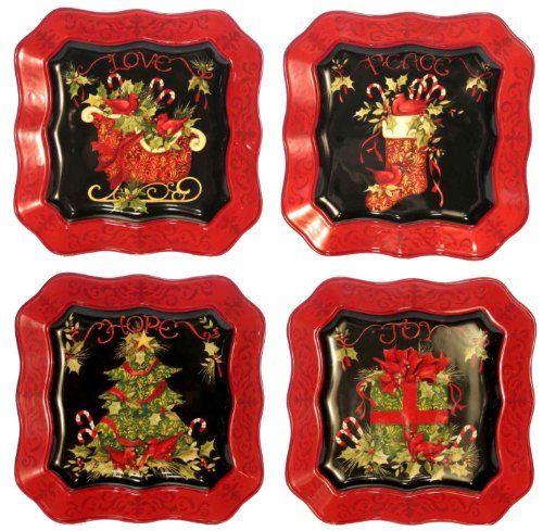 Certified International Vintage Christmas 10-1/2-Inch Dinner Plates ...