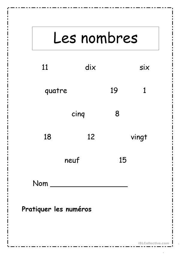 les nombres 1 20 nombres kindergarten worksheets worksheets math. Black Bedroom Furniture Sets. Home Design Ideas