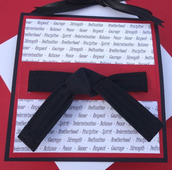 Black Belt Karate Card and Keychain - A special gift for the