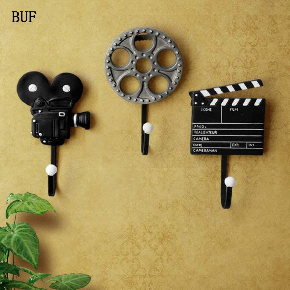 BUF 3Pcs/Set Vintage Film Equipment Resin Wall Decoration Hook Home ...